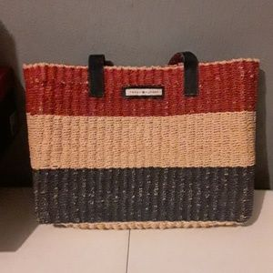 Tommy Hilfiger straw purse with checked zipper